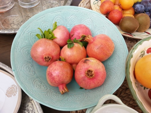 our own fresh Pomegranates for breakfast